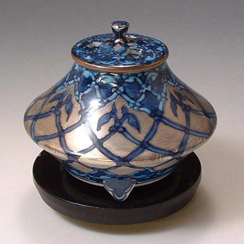 京焼 清水焼 香炉(黒台付) 銀モスク ぎんもすく YKY110 B00C1WW9PE