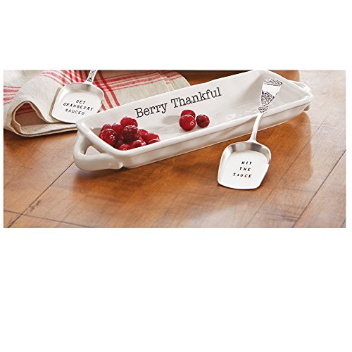 Mud Pie Fall Thanksgiving Cranberry Dish & Silverplate Server Set (Hit The Sauce)