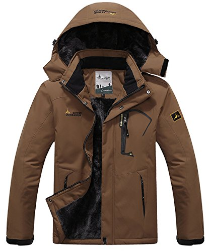 JINSHI Mens Waterproof Insulated Fleece Ski Jacket Windproof Hooded Rain Jacket (Coffee,M)
