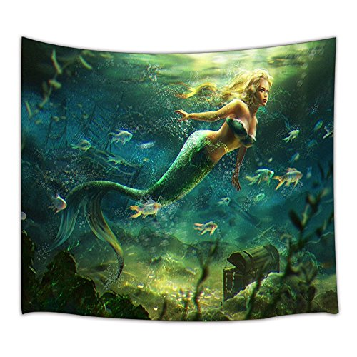 - KOTOM Mermaid Decor Tapestry, Beautiful Mermaid and Treasure Chest, Wall Art Hanging for Living Room Bedroom Dorm Decor 71X60Inches Wall Blankets