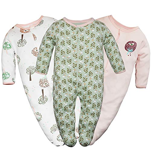 Sleeper Footed Infant (Hisharry Baby Girls Footed Pajamas 3-Pack Cotton Infant Overall Sleeper and Play 9-12M)