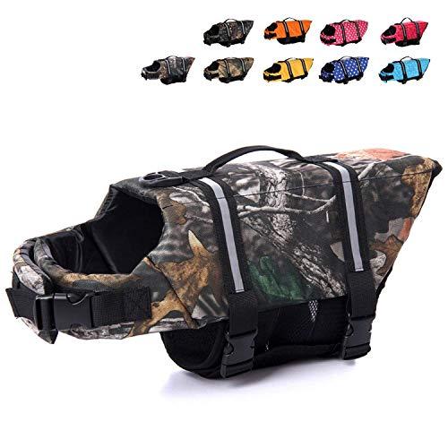 Dog Camouflage Vest - HAOCOO Dog Life Jacket Vest Saver Safety Swimsuit Preserver with Reflective Stripes/Adjustable Belt Dogs?Camouflage 1,L