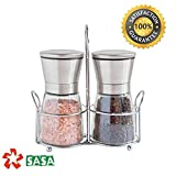 SUPER SALE Salt & Pepper Mill set With Matching Stand Grinder Set -Adjustable Ceramic Rotor | Glass Body | Stainless Steel Stand | Salt Mill and Pepper Mill | Kitchen Tool-100% by SASA Kitchenware