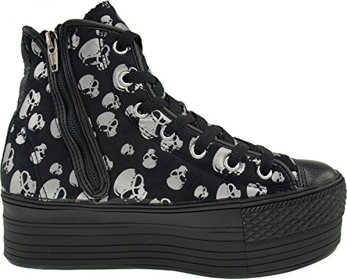 Maxstar Platform Shoes Patterned Top Skull Silver Zipper Satin fabric Sneakers High rqTrUwX5