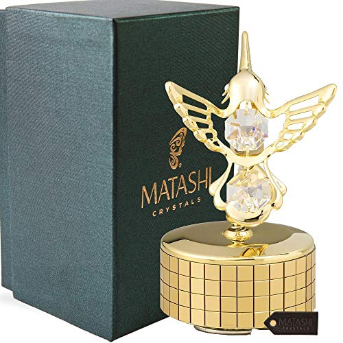 24K Gold Plated Music Box with Crystal Studded Hummingbird Figurine by Matashi | Best Gift for Valentine
