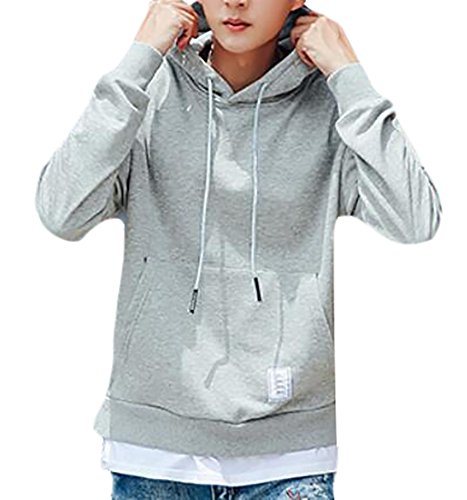 Sleeve Loose UK Long Two Mens Pieces Fit Grey Fake Solid Pullover today Hooded Sweatshirt Light H8dqwI8