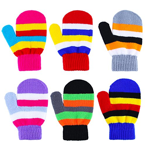 (Aneco 6 Pairs Toddler Magic Gloves Warm Winter Stretch Mittens Baby Knitted Gloves)