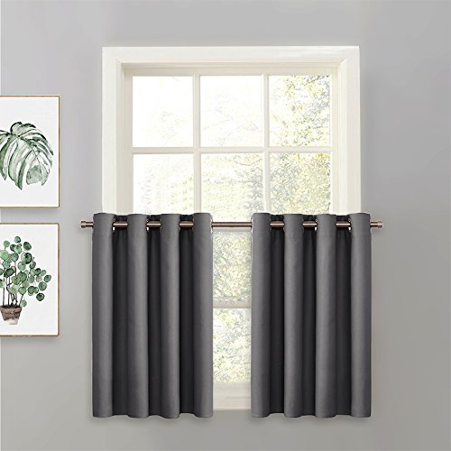 PONY DANCE Grey Blackout Tier - Window Valances Curtain Panel Home Decoration Grommet Top Window Treatments Short Curtains Tier for Kitchen, 52