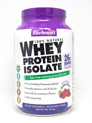 Bluebonnet Nutrition 100% Natural Whey Protein Isolate Powder, Mixed Berry Flavor, 2 Pound (Whey Berry)