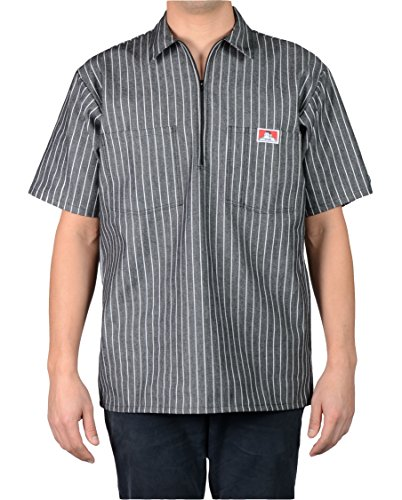 Ben Davis Men's Short Sleeved Half Zipper Work Shirt (Medium, Butcher Block Stripe Black) ()