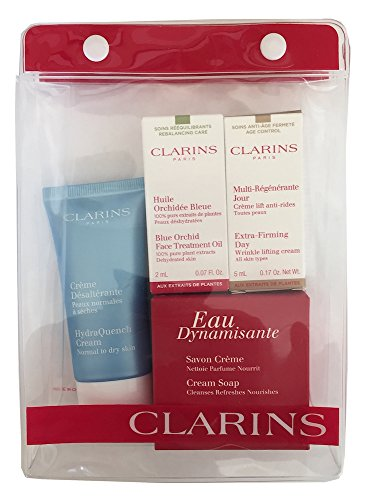 Clarins Gift Set Pouch - Extra Firming Day Wrinkle Cream, Blue Orchid Face Treatment Oil, HydraQuench Cream, Eau Dynamisante Cream Soap & Pouch