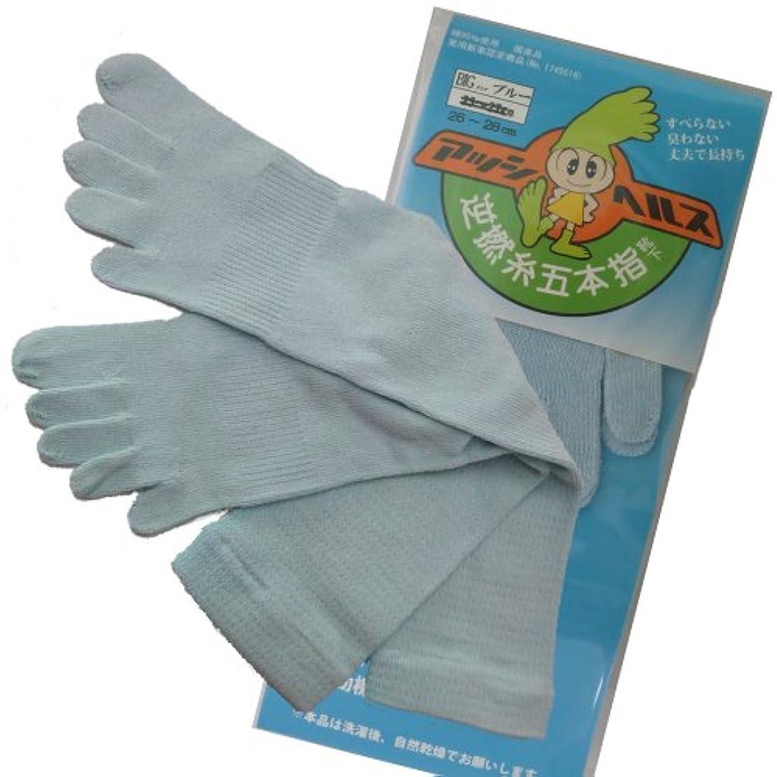調子掘るささやきアッシヘルス 逆撚糸五本指靴下 かかと付き 男性用 AA26~28cm BIG (ブルー)