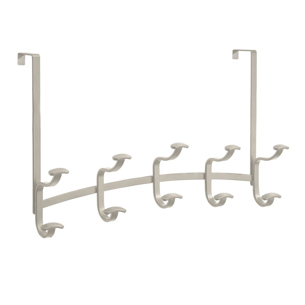 InterDesign Spa Over Door Storage Rack – Organizer Hooks for Coats, Hats, Robes, Clothes and Towels – 5 Dual Hooks, Satin