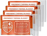 Swiss Safe Emergency Mylar Thermal Blankets (4-Pack) + BONUS Signature Gold Foil Space Blanket: Designed for NASA – Perfect for Outdoors, Hiking, Survival, Marathons or First Aid