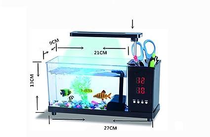 Zero Fish Aquarium Fish Tank USB Desktop Aquarium Mini Fish Tank LED Lights FA-98046