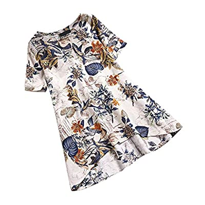 Toimothcn Womens Floral Printed Shirt Dress Short Sleeve Vintage Casual Shift Dresses