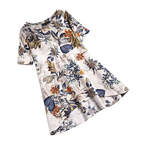 JOFOW Shirts for Women Cotton Linen Boho Flowers Floral Print O Crew Neck Blouses Short Sleeve Loose Soft Chic Tops Plus Size (L,Yellow)