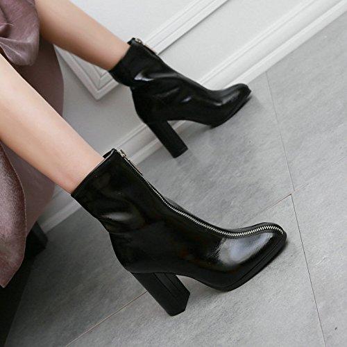 KHSKX-Boot - Persönlichkeit - Reißverschluss Kopf Mit Dicken Komfortable Hochhackige Stiefel Martin Stiefel Und Schuhe. black