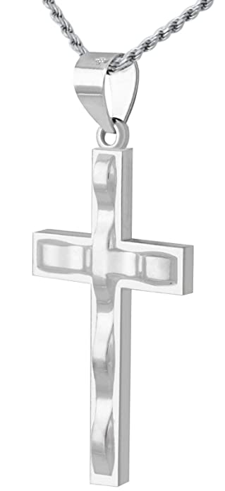 ea93d0be9178 Amazon.com  1 3 8in Solid 0.925 Sterling Silver Contemporary Design Cross  Pendant 1.5mm Bead Necklace