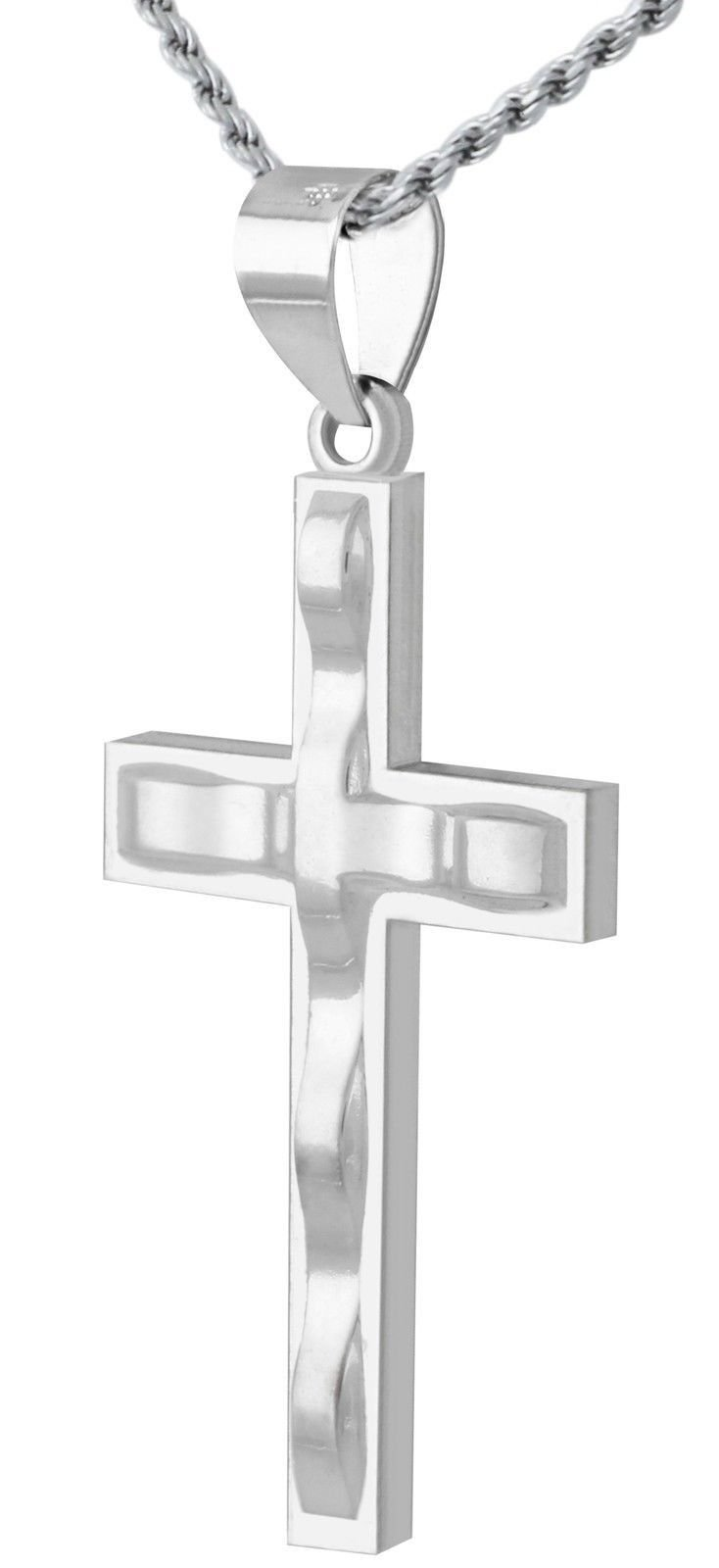 1 3/8in Solid 0.925 Sterling Silver Contemporary Design Cross Pendant 3.0mm Curb Necklace, 20''
