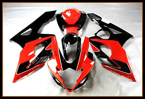 - Protek ABS Plastic Injection Mold Full Fairings Set Bodywork With Heat Shield Windscreen for 2005 2006 Suzuki GSXR1000 GSXR 1000 Red Black