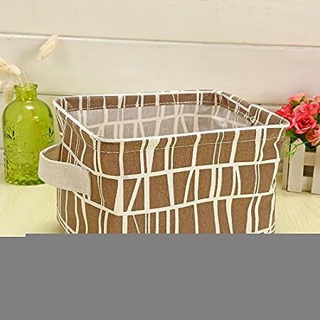 DMMW Cestas de Almacenamiento, pequeñas cestas de algodón y Lino Frescas, cestas de cestos, Cajas de Almacenamiento de Escritorio con cestas de Almacenamiento de Tela con Asas (Color : 5): Amazon.es: Hogar