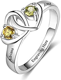 Promise Engagement Rings 2 Simulate Birthstone Heart Rings For Women Cheap Personalized Mother's Ring