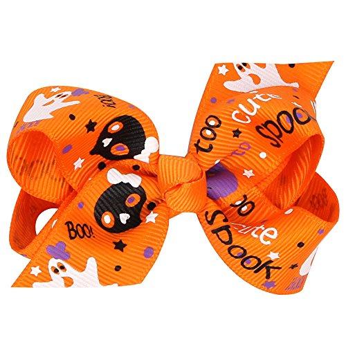 (Sameno 1 Pair Fashion Halloween Pumpkin Toddler Baby Kids Girls Bowknot Hairpin Headdress Hair Clips)
