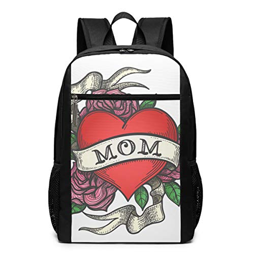 Heart with Rose Flowers and Ribbon with Wording MOM Travel Laptop Backpack Water Resistant College School Computer Bag for Women & Men Fits 17 Inch Laptop and Notebook (Pink Ribbon Janet)
