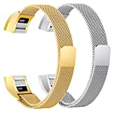 bayite For Fitbit Alta HR and Alta Bands Pack of 2, Replacement Milanese Loop Stainless Steel Metal Bands Women Men, Silver and Gold 6.7'' - 8.1''