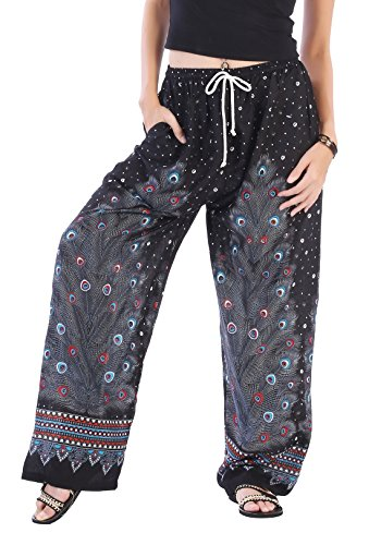 CandyHusky Women Summer Drawstring Baggy Loose Fit Hippie Boho Gypsy Harem Pants (Peacock Feather 2 Black)