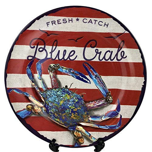 4 Melamine Blue Crab Plates Dinner Size 10