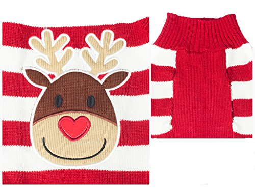 PetsLove Christmas Rudolph Dog Clothes Cat Sweaters Pet Jerseys Clothing Gear Coats Apparel XS