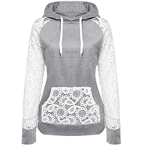 2019 Women's Hoodies,Lace Patchwork Sweatshirt Pullover Hoodie Outerwear Coat Tops by-NEWONESUN Gray