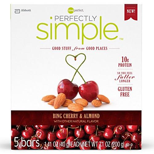 Zona perfectamente perfecto Simple barra de nutrición, Bing Cherry almendra, 1.41 onzas, cuenta 30