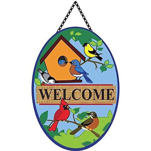 Welcome Songbirds and Spring Branches Burlap 18 x 13 Oval Chain Rope Door Banner