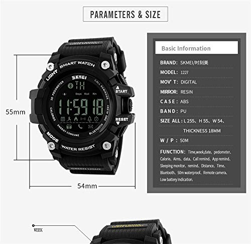 Amazon.com: Outdoor Sport Smart Watch Men Bluetooth Multifunction Fitness Watches 5Bar Waterproof Digital Watch reloj Hombre for Students,red: Cell Phones & ...