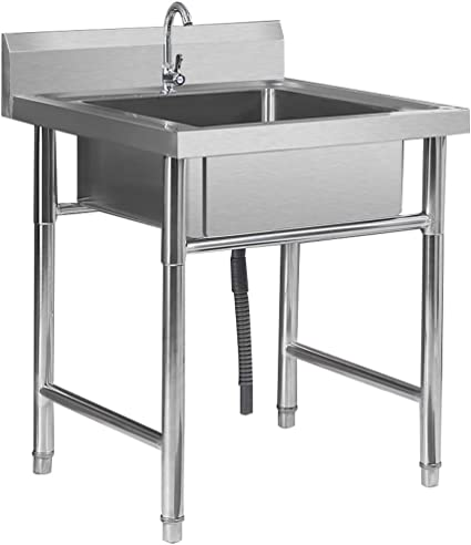 Fregadero Engrosado Comercial para hostelería con Grifo, fácil de Limpiar y Fortalecer la Carga, para Hotel/Restaurante/Cocina
