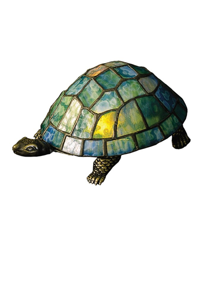 Turtle Glass Accent Lamp (Blue and Green)