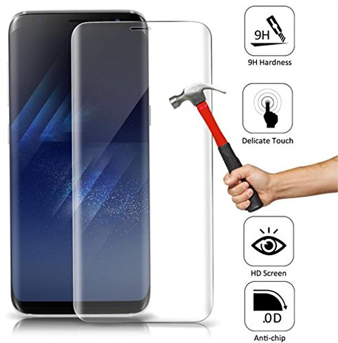 wholesale dealer e3435 657e6 AT&T Samsung Galaxy S8+ Screen Protector, Full Cover Curved Edge Tempered  Glass Screen Protector 9H Display Cover Clear for Samsung Galaxy S8+[Plus]