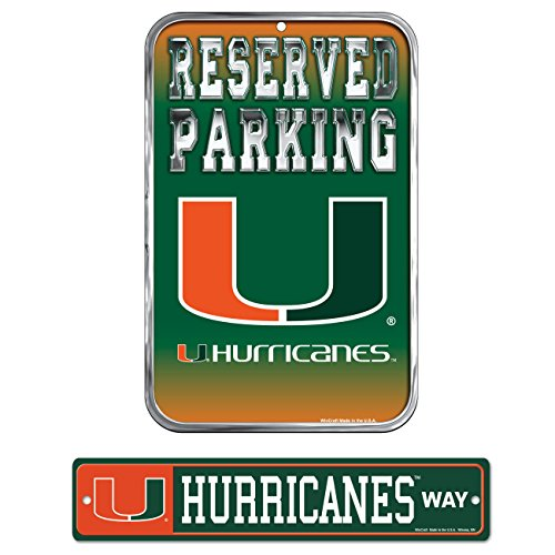 WinCraft Bundle - 2 Items: University of Miami Plastic Street Sign and Reserved Parking Sign - Hurricanes Street Ncaa Sign Miami