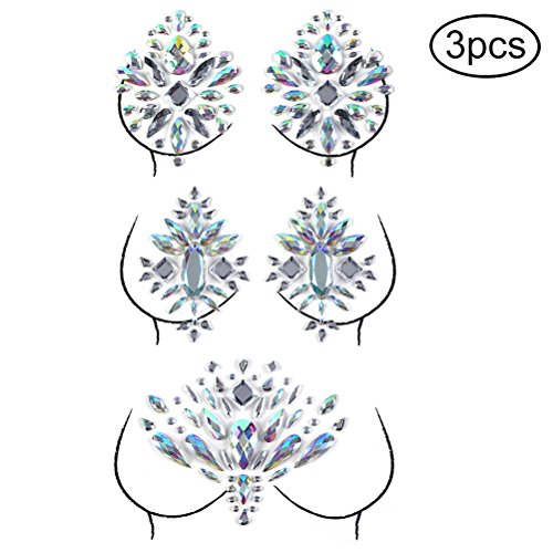 Qingsi 3Pcs Body Jewelry Sticker Mardi Gras Crystal Nipple Sticker Rhinestone Body Sticker Temporary Tattoos for