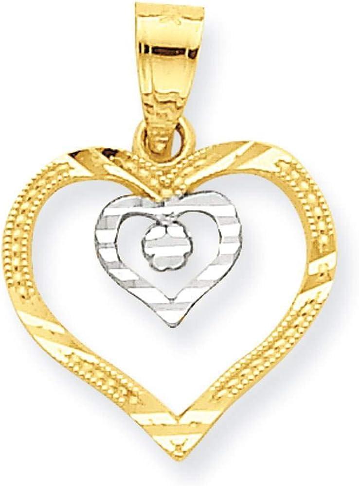 10k Yellow Gold /& Rhodium-plated Heart Charm Pendant 17mmx12mm