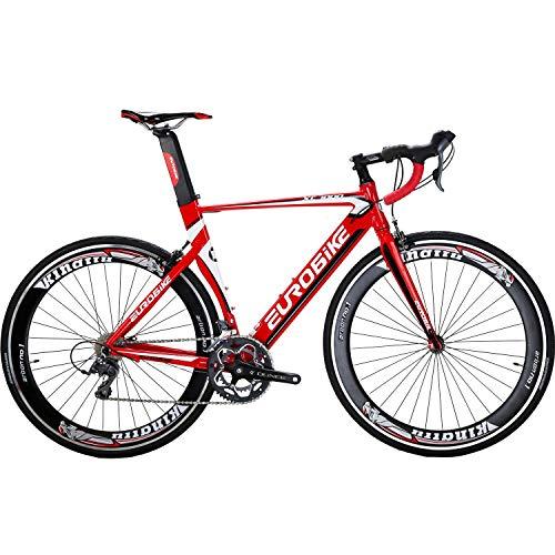 Eurobike Aluminium Road Bike 16 Speed Mens Bicycle 700C Wheels 54cm Frame Racing Commuter (Red)