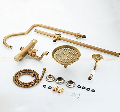 Brass Thermostatic Shower Faucet Mixing Valve Dual Handle: GOWE Wall Mounted Antique Brass Two Handle Thermostatic