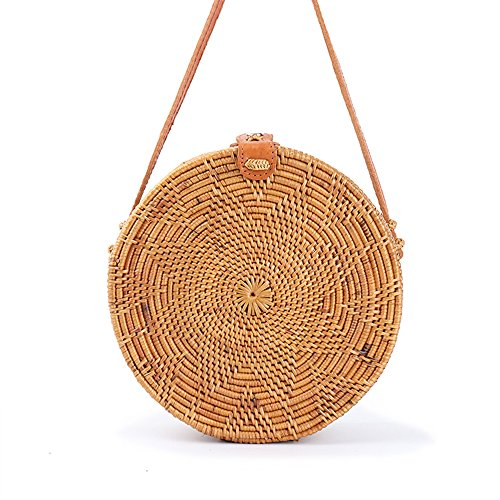 JavaCrafts Handwoven Rattan Bag Round Circle Tropical Beach Style Crossbody Woven Tote Basket Bali Bag With Leather Buckle (Star Woven S(18cm)), Light (Tropical Rattan)