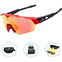 TOPTETN Polarized Sports Sunglasses UV400 Protection Cycling Glasses With 3 Interchangeable Lenses for Cycling, Baseball,Fishing, Skiing, Running
