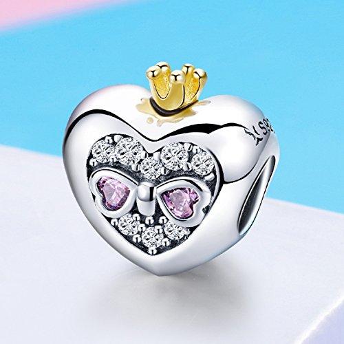 BAMOER Sterling Silver Heart of Princess Love CZ Bead Charm for DIY Snake Chain Bracelet by BAMOER (Image #1)