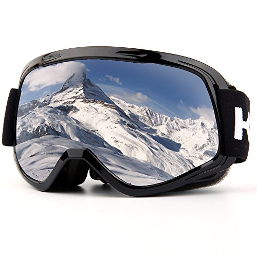 Ski Goggles, Snow Goggles Snowboarding Over Glasses Goggles for Men, Women, Youth or Kids UV400 Protection and Anti Fog Double Grey Spherical Lens for Skating Skiing