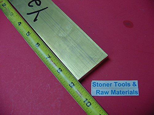 1/2'' x 2'' C360 BRASS FLAT BAR 9'' long Solid .500'' Plate Mill Stock H02 by Stoner Metals